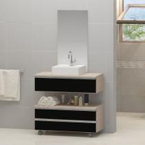 Kit gabinete banheiro creta 80cm + cuba sobrepor + espelho madeirado/preto - Moveis Joia