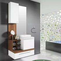 Kit Gabinete Para Banheiro Alteza C/ Espelheira Espelho e Pia Cuba - Arte Cas