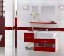 Kit Gabinete para banheiro Troia Vermelho com espelheira (não acompanha a cuba) - Atitudelar Acabamentos