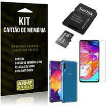 Kit Galaxy A70 Cartão Memória 32 GB + Capinha Antishock + Película Vidro - Armyshield -