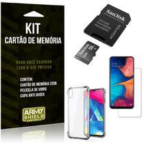 Kit Galaxy M10 Cartão Memória 32 GB + Capinha Antishock + Película Vidro - Armyshield -