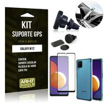 Kit Galaxy M12 Suporte Veicular Magnético + Capa Anti Impacto + Película Vidro 3D - Armyshield -