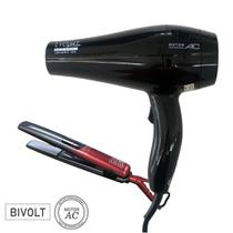 KIT GAMA BIVOLT - SECADOR LIGHT PLUS CERAMIC ION 2000W + PRANCHA SALON AURA PRO TITANIUM IHT 230ºC - Ga.ma
