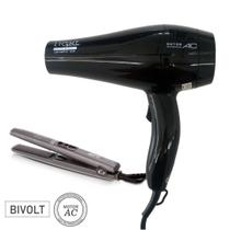 KIT GAMA ION PLUS BIVOLT - SECADOR LIGHT CERAMIC 2000W + PRANCHA SALON CP1 NOVA TITANIUM PRO 230ºC - Ga.ma
