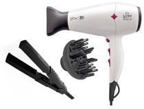 Kit gama - secador cabelo glow 3d 2000w branco 220v + chapinha mini ceramic ion 200c biv - Ga.ma