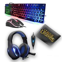 Kit Gamer 2019 League of Legends + Mouse + Teclado + Headset + Mousepad - Exbom