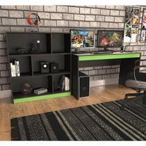 Kit Gamer B28 com Mesa e Estante com 6 Nichos - Preto/Verde - Nova Móbile