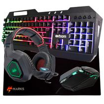Kit Gamer Completo Headset + Teclado + MousePad + Mouse PC - Harks