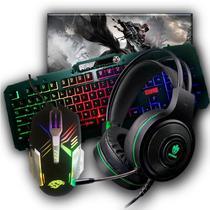 Kit Gamer Completo Teclado Semi-Mecânico + Headset  + Mouse + Mousepad - Kmex