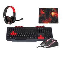 Kit Gamer Dragon Teclado Mouse Headset e Mousepad - Kross