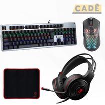 Kit Gamer Evolut Teclado Mecânico Mouse Ultraleve e Headset -