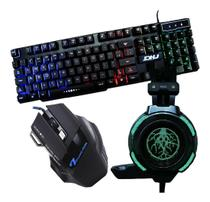 Kit Gamer Haiz Hz16 Teclado Mouse Fone Headset 5.1 Luz Led