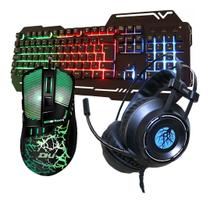 Kit Gamer Haiz Teclado Mouse E Headset 5.1 Luz Led Hz17