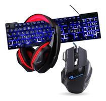 Kit Gamer Haiz Teclado Mouse Fone Headset 5.1 Led Hz23