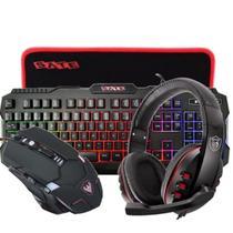 kit gamer  headset/microfone + teclado c/led +mouse2400 dpi+ mouse pad - Satelite