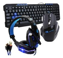 Kit Gamer hz4 Haiz Teclado Headset E Mouse Luz Led 3200dpi 5.1 Azul