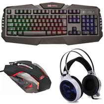 Kit Gamer Knup Fone Headset KP-402 , Teclado Led e Mouse Tiger 2400dpi