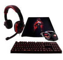 KIT Gamer LED Teclado Semi-mecânico + Mouse 7 Botões 2.800 DPI   + Fone Heaset Stereo P2  + MOuse PAD G-FIRE -