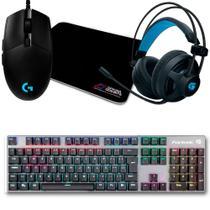 Kit Gamer Logitech G203 Prodigy + Mousepad Bits Gamer + Teclado Mecânico Fortrek + Headset Fortrek - Oficina dos Bits