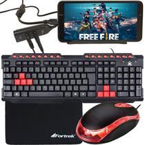 Kit Gamer Para Celular Com Teclado + Mouse Óptico 800 dpi CM10 + Mouse Pad Speed + Acessórios - EVOLUT