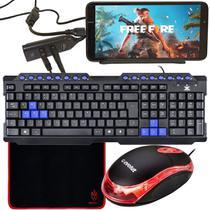 Kit Gamer Para Celular Com Teclado + Mouse Óptico CM10 + Mouse Pad Speed + Acessórios - EVOLUT