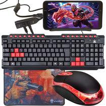 Kit Gamer Para Celular Com Teclado Preto e Vermelho GT100 + Mouse CM10 800 Dpi + Mouse Pad Speed + Acessórios - EVOLUT
