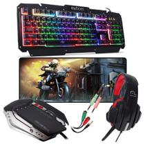 Kit Gamer Pc Barato Completo Teclado Mouse Usb Hadset P2 3.5mm Mousepad Grande 70x35cm - Exbom / multilaser