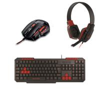 Kit Gamer Red Mouse 2400dpi Mo236 Fone Ph073 Teclado Tc242 - Multilaser