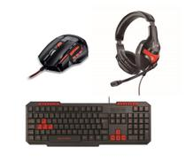 Kit Gamer Red Mouse 2400dpi Mo236 Fone Ph101 Teclado Tc242 - Multilaser