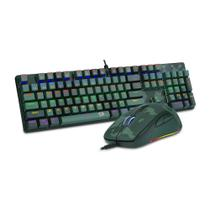 Kit Gamer Redragon Teclado Mecânico Gamer Rainbow ABNT2 Camuflado + Mouse Gamer - S108 PT-DARK GREEN