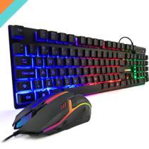 Kit Gamer RGB Mouse Claw Teclado PC Para Jogos ABNT Controle Midia USB - DW
