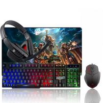 Kit Gamer Teclado Gamer + Headset + Mouse  + Mouse Pad LOL - Galviani
