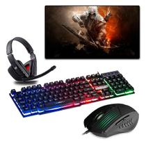 Kit Gamer Teclado + Headset + Mouse + Mouse Pad Assassino - Galviani