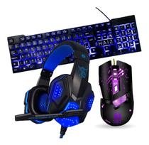 Kit Gamer Teclado Mouse Fone Headset Led Hz24-a (Azul) - Haiz