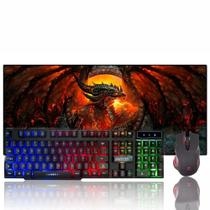 Kit Gamer Teclado + Mouse + Headset Gamer + Mouse pad Dragão - Galviani