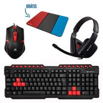 Kit Gamer Teclado Multimidia + Mouse GK-20 + Headset + Mousepad - Cores Sortidas - C3tech