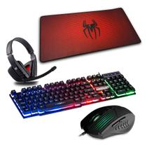 Kit Gamer Teclado Semi Mecânico + Headset + Mouse + Mouse Pad Spider Man 70x35cm - C3tech