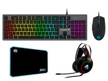 Kit Gamer Teclado Semi-Mecânico + Mouse 6400DPI + Mouse Pad 44x35cm + Headset USB 7.1 - Fortrek