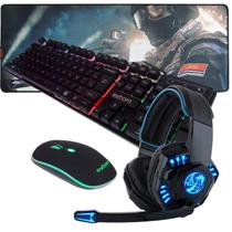 Kit Gamer Teclado Semi Mecanico Mouse mousepad Headset 706 Dragon - Exbom