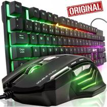 Kit Gamer Teclado Semi Mecânico RGB + Mouse 7 Botoes USB Led - Galviani