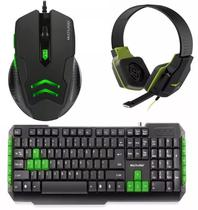 Kit Gamer Verde Mouse 3200dpi Mo273 Fone Ph146 Teclado Tc201 - Multilaser