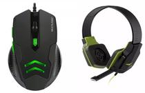 Kit Gamer Verde Mouse Laser 3200 Dpi Mo273 + Headset Ph146 - Multilaser
