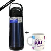 Kit garrafa térmica termolar lúmina inox 1 litro tampa pressão + linda caneca para presente c/ nome -