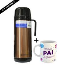 Kit garrafa térmica termolar lúmina inox 1 litro tampa rosca + linda caneca para presente c/ nome -