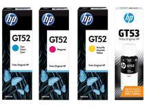 Kit Garrafas de Tinta HP Amarelo GT52 + Preto - GT53 + Ciano GT52 + Magenta GT52 Original