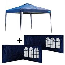 Kit Gazebo Tenda 3x3 Mts Articulada Dobravel + 4 Paredes Laterais Azul  Mor