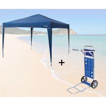 Kit Gazebo Tenda Dobravel Trixx 3m X 3m Base e Topo + Carrinho de Praia com Avanco  Nautika -