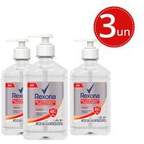 Kit Gel Higienizante Rexona Original Elimina até 99,9% das Bactérias* 500ml Garrafa com Pump - 3 Unidades -