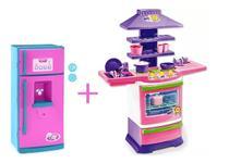 Kit geladeira infantil com som + cozinha infantil menina -