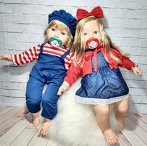 Kit Gêmeos Boneco e Boneca Bambola Loui e Louise com Chupeta Boneca e Diversos Acessórios - Boneca e Reborn Maternidade Ana Almeida